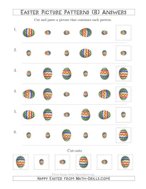 The Easter Egg Picture Patterns with Size and Rotation Attributes (B) Math Worksheet Page 2