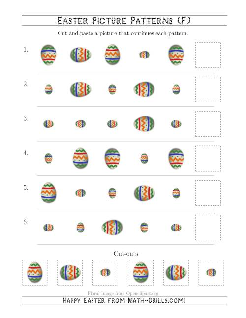 The Easter Egg Picture Patterns with Size and Rotation Attributes (F) Math Worksheet