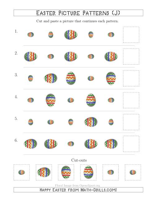 The Easter Egg Picture Patterns with Size and Rotation Attributes (J) Math Worksheet