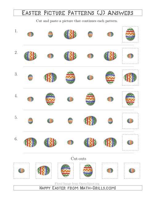 The Easter Egg Picture Patterns with Size and Rotation Attributes (J) Math Worksheet Page 2
