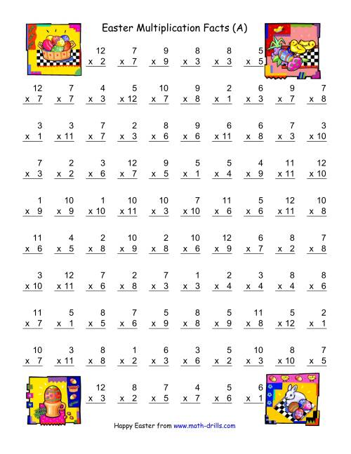 The Easter Multiplication Facts to 144 (A) Math Worksheet
