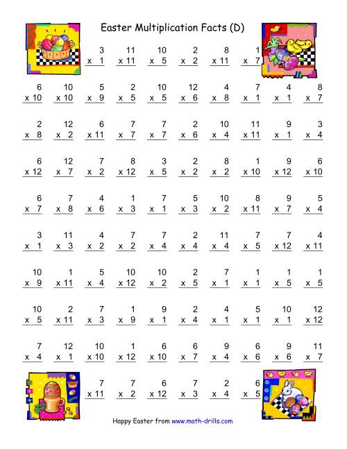 The Easter Multiplication Facts to 144 (D) Math Worksheet