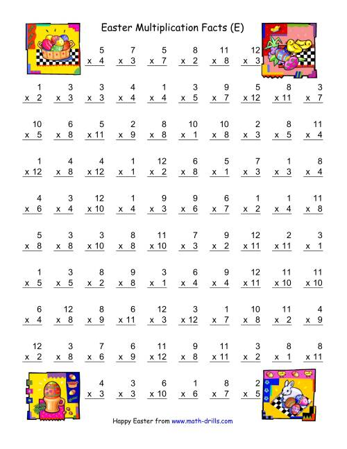 The Easter Multiplication Facts to 144 (E) Math Worksheet