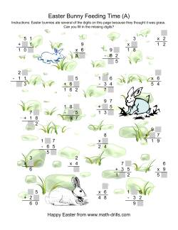 Easter Bunny Feeding Time -- Mixed Operations Missing Digits (A)