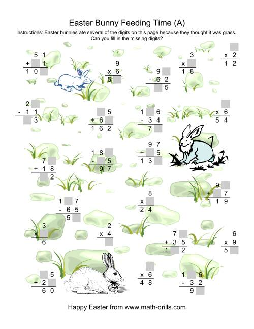 The Easter Bunny Feeding Time -- Mixed Operations Missing Digits (A) Math Worksheet