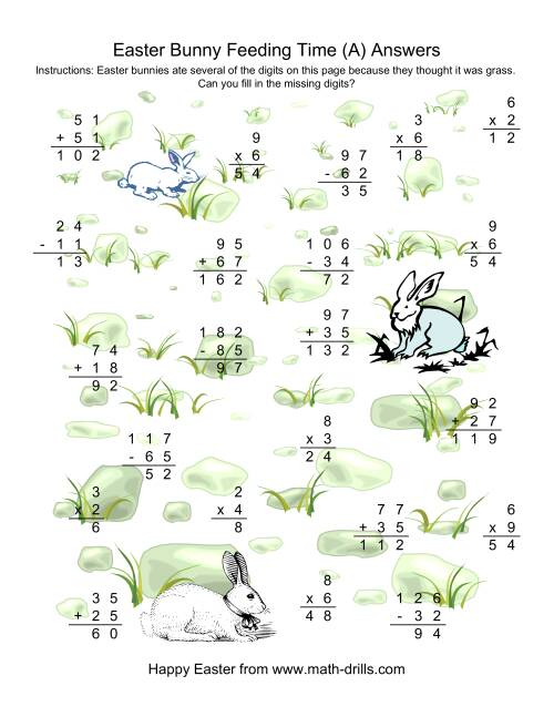 The Easter Bunny Feeding Time -- Mixed Operations Missing Digits (A) Math Worksheet Page 2