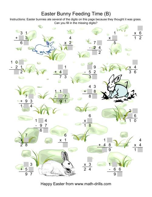 The Easter Bunny Feeding Time -- Mixed Operations Missing Digits (B) Math Worksheet