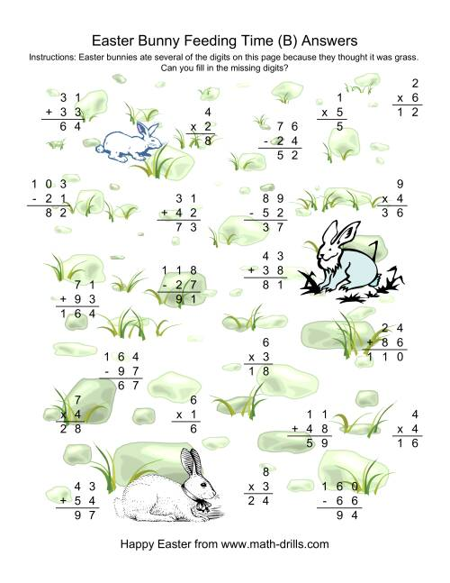 The Easter Bunny Feeding Time -- Mixed Operations Missing Digits (B) Math Worksheet Page 2
