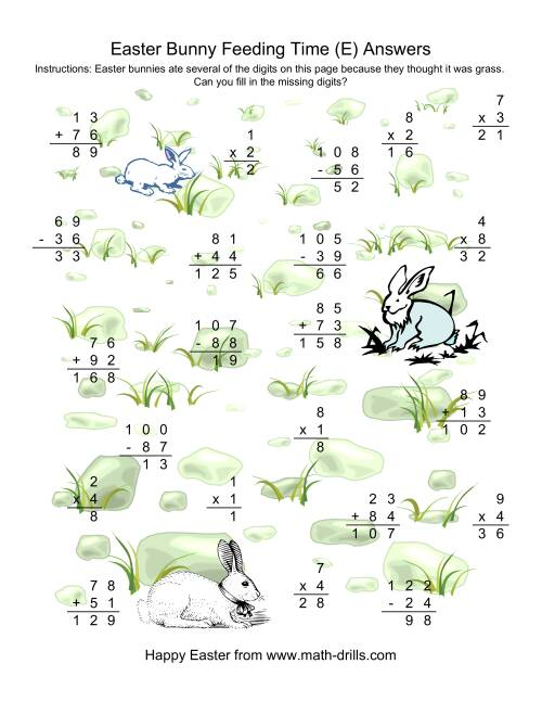 The Easter Bunny Feeding Time -- Mixed Operations Missing Digits (E) Math Worksheet Page 2