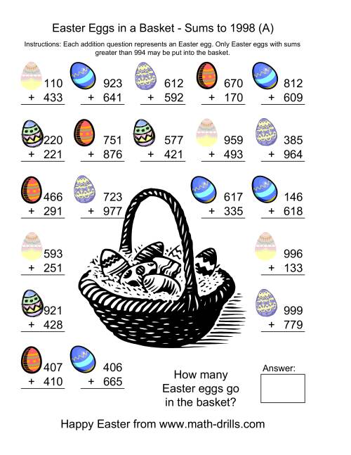 The Easter Addition Sums to 1998 (Old) Math Worksheet