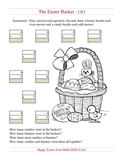 Easter Basket Mixed Operations (A) Easter Math Worksheet