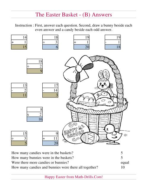 The Easter Basket Mixed Operations (B) Math Worksheet Page 2