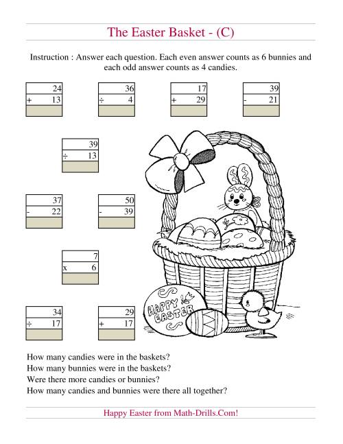 The Easter Basket Mixed Operations (C) Math Worksheet