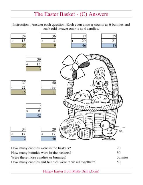 The Easter Basket Mixed Operations (C) Math Worksheet Page 2