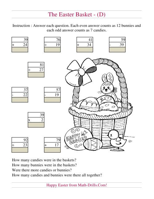 The Easter Basket Mixed Operations (D) Math Worksheet