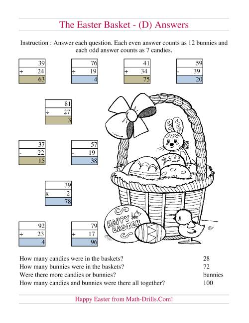 The Easter Basket Mixed Operations (D) Math Worksheet Page 2