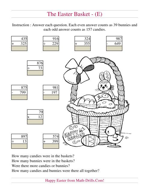 The Easter Basket Mixed Operations (E) Math Worksheet