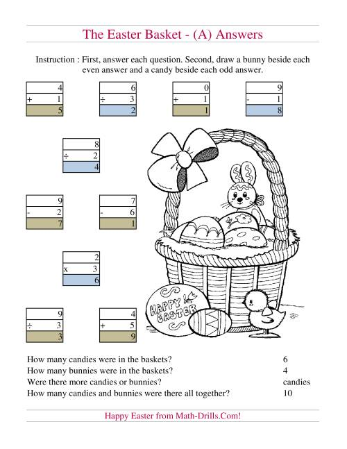 The Easter Basket Mixed Operations (A) Math Worksheet Page 2