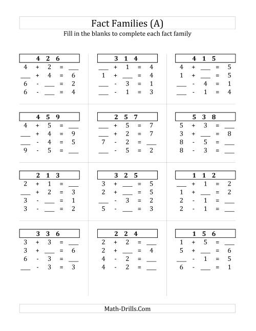 addition and subtraction relationships with sums to 10 a fact family worksheet. Black Bedroom Furniture Sets. Home Design Ideas