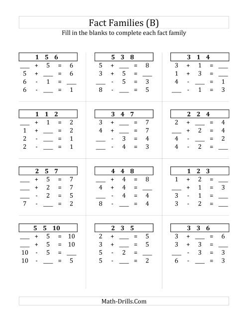 The Addition and Subtraction Relationships with Sums to 10 (B) Math Worksheet