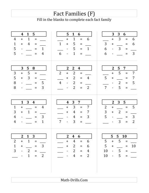 The Addition and Subtraction Relationships with Sums to 10 (F) Math Worksheet