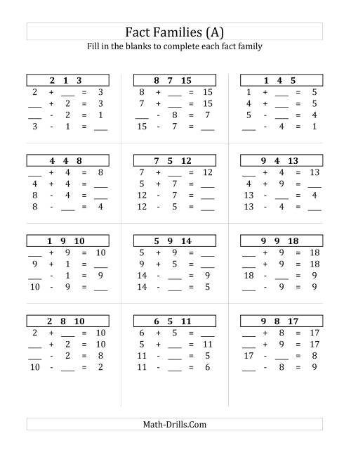 math worksheet : addition and subtraction relationships with sums to 18 a fact  : Basic Addition Facts Worksheets