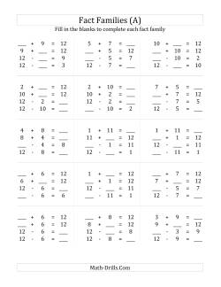Fact family worksheets - Exercices tables d addition ce1 ...