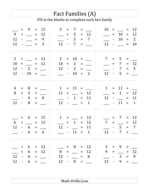Addition and Subtraction Relationships with Families that Add to – Math Addition Subtraction Worksheets