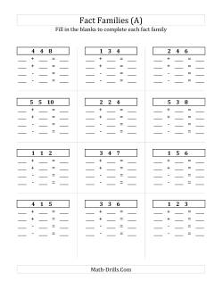 Fact Family Worksheets