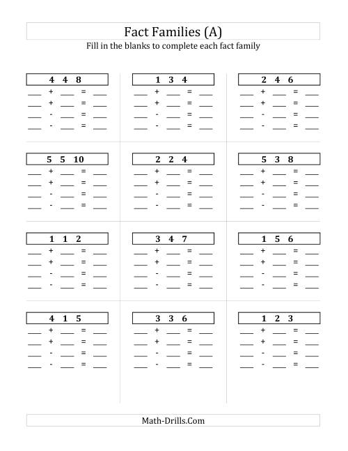 The Addition and Subtraction Relationships with Sums to 10 and All Blank (A) Math Worksheet