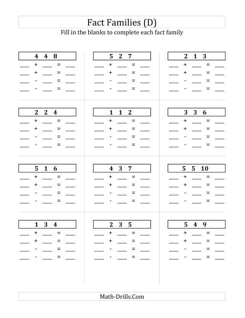The Addition and Subtraction Relationships with Sums to 10 and All Blank (D) Math Worksheet