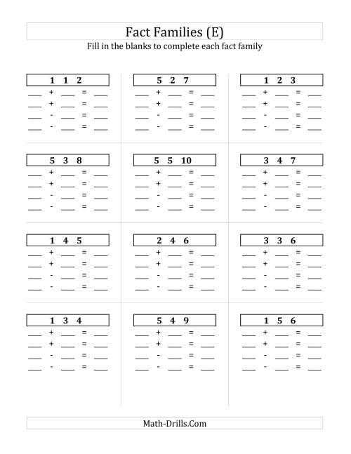 The Addition and Subtraction Relationships with Sums to 10 and All Blank (E) Math Worksheet