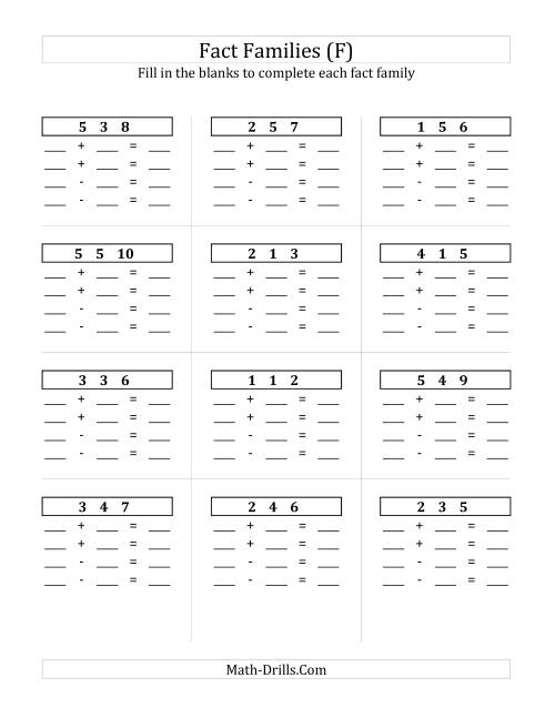 The Addition and Subtraction Relationships with Sums to 10 and All Blank (F) Math Worksheet