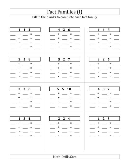 The Addition and Subtraction Relationships with Sums to 10 and All Blank (I) Math Worksheet