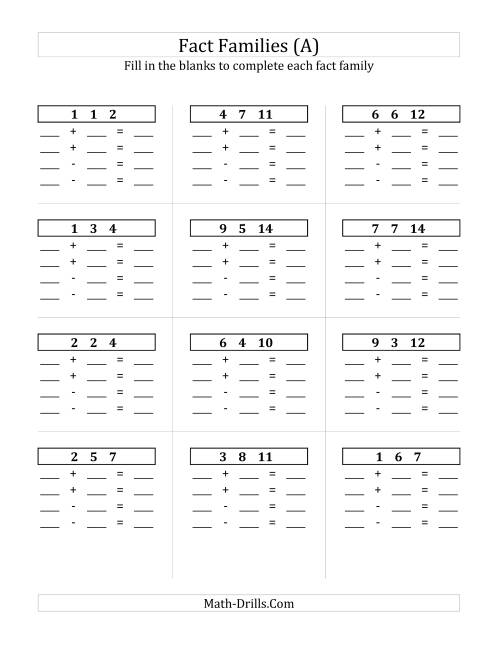 The Addition and Subtraction Relationships with Sums to 18 and All Blank (A) Math Worksheet