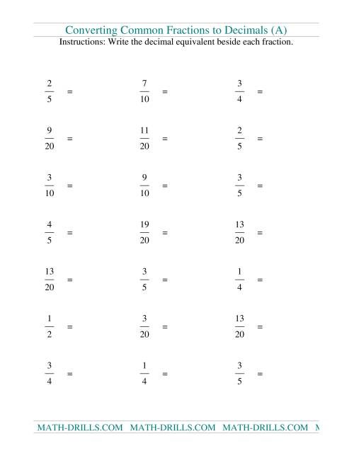 The Convert Fractions to Decimals (Old) Math Worksheet