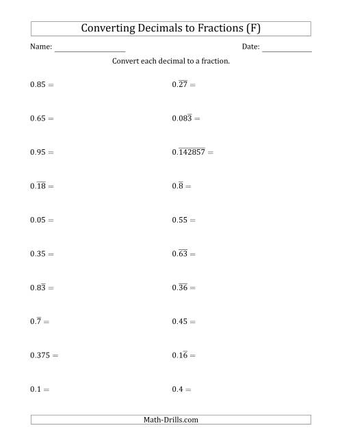 The Converting Terminating and Repeating Decimals to Fractions (F) Math Worksheet