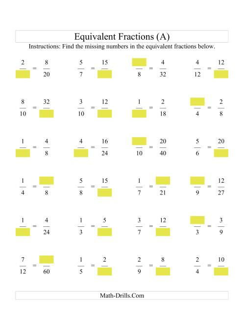 Missing Numbers in Equivalent Fractions A Fractions Worksheet – Fractions of Amounts Worksheet