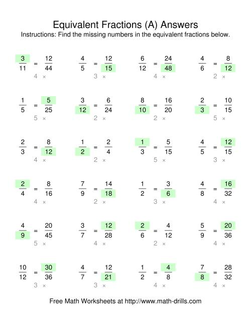 The Missing Numbers in Equivalent Fractions (Old) Math Worksheet Page 2
