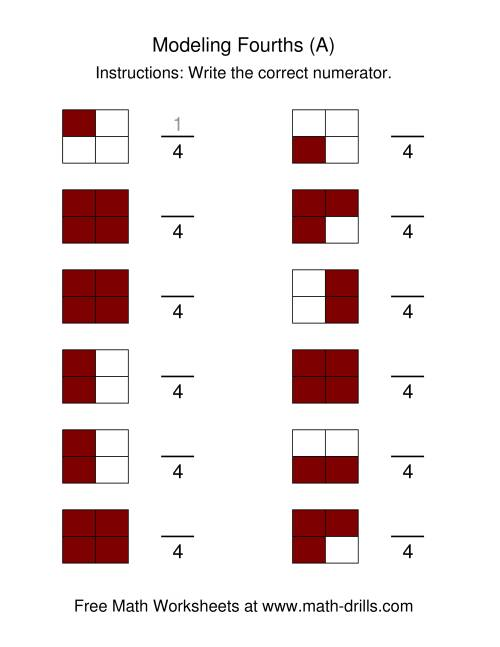 math worksheet : modeling fractions  fourths a fractions worksheet : Modeling Fractions Worksheet