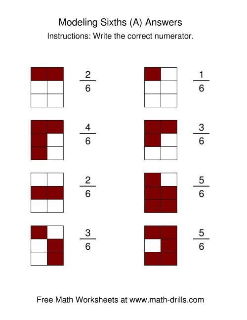 The Modeling Fractions -- Sixths (A) Math Worksheet Page 2