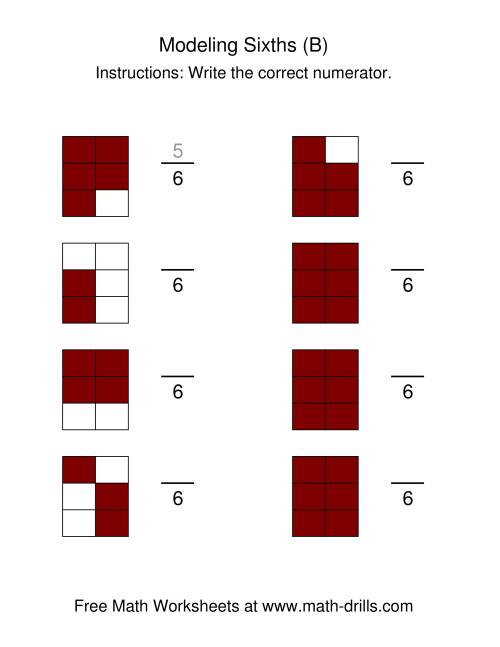 The Modeling Fractions -- Sixths (B) Math Worksheet