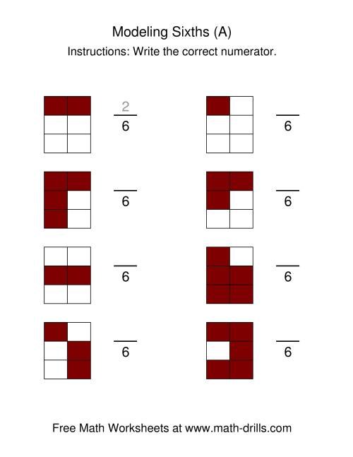 The Modeling Fractions -- Sixths (All) Math Worksheet