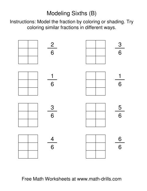 Coloring Fraction Models Sixths B