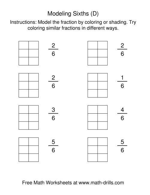 The Coloring Fraction Models -- Sixths (D) Math Worksheet