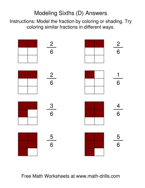 The Coloring Fraction Models -- Sixths (D) Math Worksheet Page 2