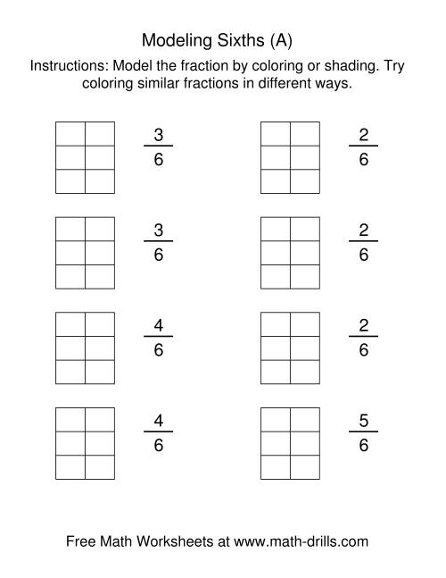 The Coloring Fraction Models -- Sixths (All) Math Worksheet