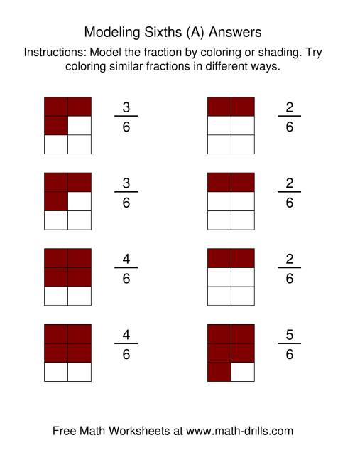 The Coloring Fraction Models -- Sixths (All) Math Worksheet Page 2