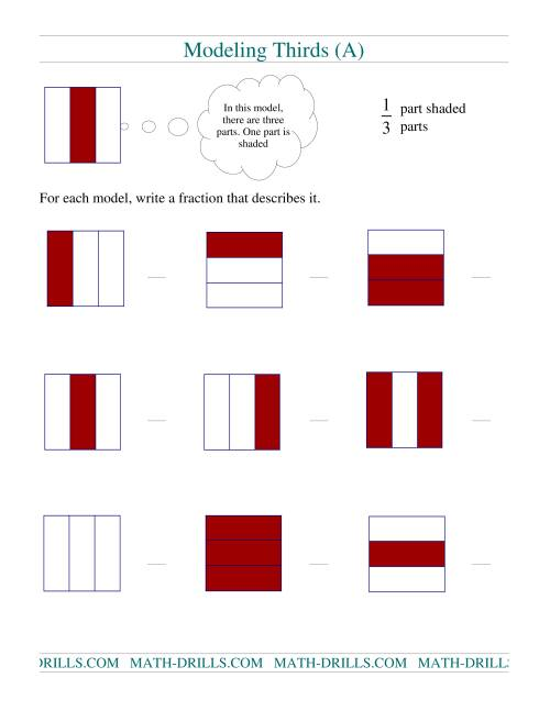 The Modeling Fractions -- Thirds (A) Math Worksheet