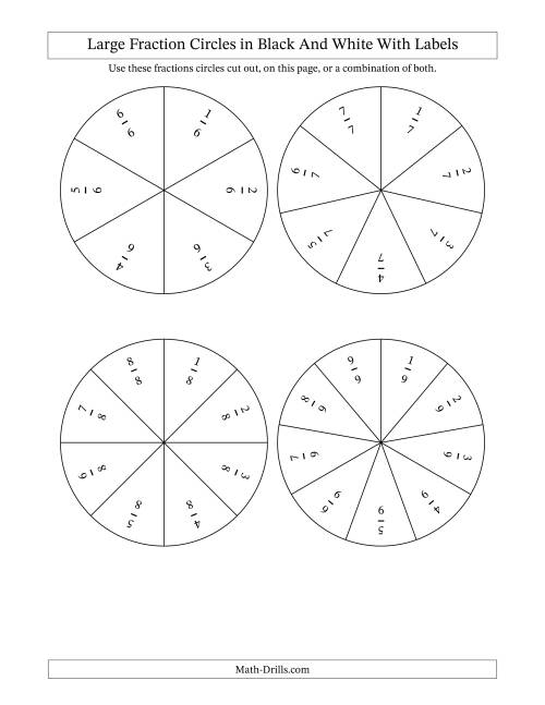 The Large Multi-Color Fraction Circles with Labels (A) Math Worksheet Page 2